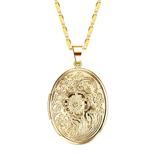 IFFURMON Gold Plated Oval Hand-Engraved Flower Locket Necklace Heart Pendant (Gold Plated Oval Locket)