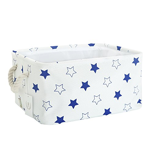 (Storage Bin, Zonyon Rectangular Collapsible Linen Foldable Storage Container,Baby Basket,Hamper Organizer with Rope Handles for Boys,Girls,Kids,Toys,Office,Bedroom,Closet,Gift Basket,Blue Star)