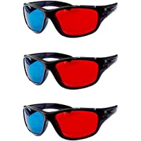 HRINKAR Anaglyph 3D Glasses for Mobile Phone, Computer, Laptop, TV, Projector and Magazines (Red and Cyan) , Pack of 3 Pieces