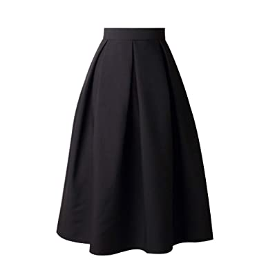 VEZAD Women High Waist Flared Skirt Pleated Skirt A Line Street Skirt Full  Midi Skirt D 28c8363ff