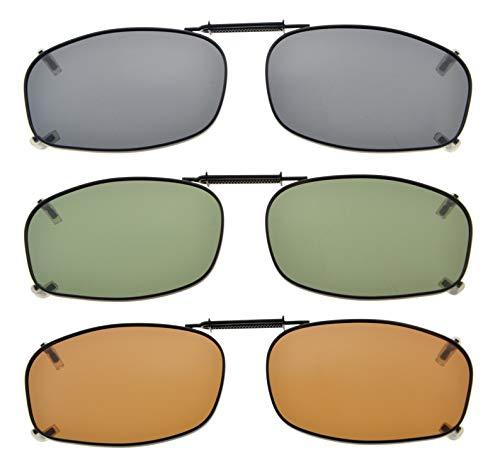 (Eyekepper Grey/Brown/G15 Lens 3-pack Clip-on Polarized Sunglasses 2 3/16