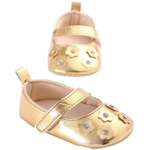 etrack-online bebé niñas Bling Bling Flor Suave Suela Zapatillas zapatos plateado Talla:12-18months dorado