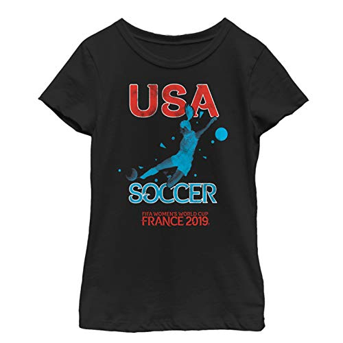 FIFA Big Officially Licensed US Shooters Youth Girl's Tee, Black, Medium