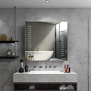 Quavikey LED Illuminated Bathroom Mirror Cabinet Aluminum Bathroom Mirrored Cabinet Wall Mounted With Shaver Socket…