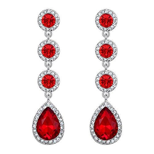 (BriLove Wedding Bridal Dangle Earrings for Women Elegant Crystal Teardrop Chandelier Earrings Ruby Color Silver-Tone)