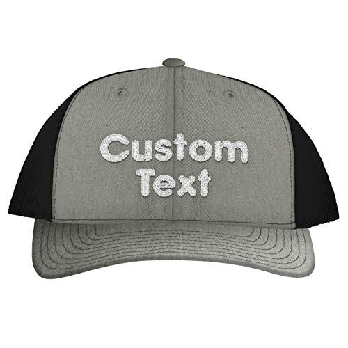Custom Personalized Embroidered Text C112 Trucker Hat CP07, Heather\Black (Billig Custom Sonnenbrillen)