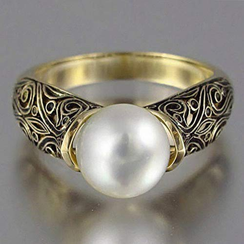 Dokis Antique White Pearl 925 Silver Women Wedding Engagement Ring Jewelry Size 6-10   Model RNG - 4729   8