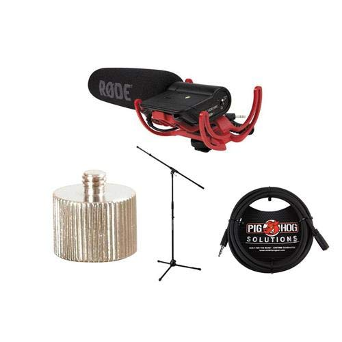 Shotgun Mounted Camera Videomic Microphone (Rode Microphones VideoMic with Rycote Lyre Suspension System - Bundle with Ultimate JamStands JS-MCTB200 Tripod Mic Stand, 10' Headphone Extension Cable, MA125 5/8in-27 Female to 1/4in-20 Adapter)