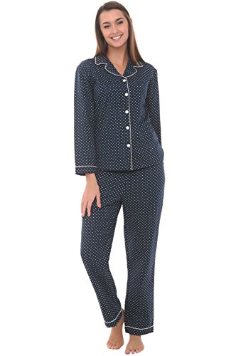 Alexander Del Rossa Woven Cotton Polka Dot Long Sleeved Pajama Set, 100% Cotton Pjs