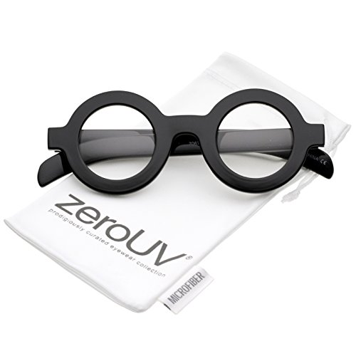 zeroUV - Bold Thick Frame Flat Clear Lens Round Eyeglasses 39mm (Black / - Round Glasses Thick
