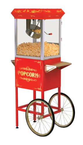 (Elite Deluxe EPM-200 Maxi-Matic 8 Ounce Popcorn Popper Machine with Trolley, Red)