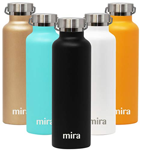 MIRA Insulated Stainless Steel Water Bottle | Alpine Vacuum Insulated Thermos Flask with 2 Lids | Keeps Water Stay Cold for 24 Hours, Hot for 12 Hours | Metal Bottle BPA-Free Cap | Black | 25 oz