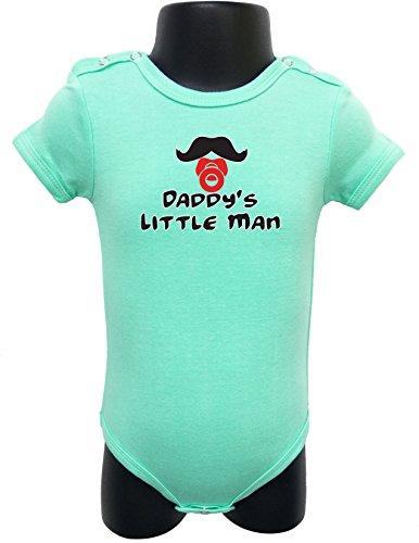 N112 BABY ROMPER SHORT SLEEVE ONESIE UNISEX DADDY'S LITTLE MAN GIFT BAGGED A&G (0-6 Months, Green) - Men Onesie Cowboys