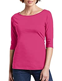 Women's Crystal Boatneck 3/4 Sleeve Cotton Tee Top Size XS to 4XL