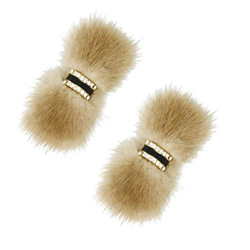 L'vow Women' Fluffy Mink Fur Removable Shoe Clips Wedding Clutch Brooch Pin Pack of 2 (Light Brown)