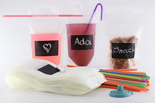 Double Zipper Drink Pouches with Colorful Straws, 202 Piece Durable Disposable Gusset Bottom Drink Bags, Zipper Top, Silicone Funnel, BPA Free, Heavy Duty, Smoothie Bag