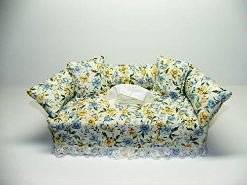 (Blue and Yellow Flower Designer fabric tissue box cover. Includes Tissue )
