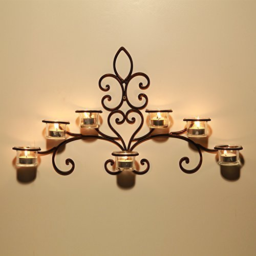 Adeco HD0012 Iron & Glass Horizontal Wall Hanging Candle Holder Sconce, Scolled Vine Detail, Holds 7 Tea Lights black with Antique Finish