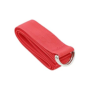 D-Ring Buckle Cotton Yoga Strap for Pilates Gym Workouts Improve Flexibility Maintain Balance