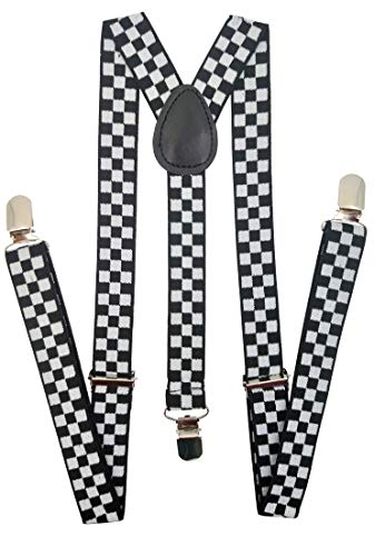 Navisima Suspenders for Kids - Adjustable Suspenders for Girls, Toddler, Baby - Elastic Y-Back Design with Strong Metal Clips, Black and White Checker (Boys Checkered Suspenders)