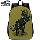 "Dinosaur,Lightweight Bag,Cartoon Style Anchiceratops Dino,for Kid,15in 12"" Lx5 Wx15 H"