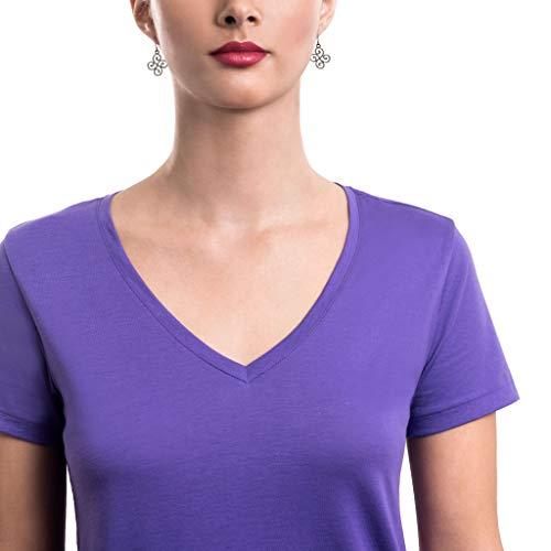 TRUTH ALONE Women's V-Neck Tee, 100% Organic Peruvian Pima Cotton Ultra Violet ()