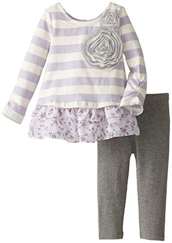Pippa & Julie Baby-Girls Infant Striped Peekout Knit Set, Purple, 12 Months