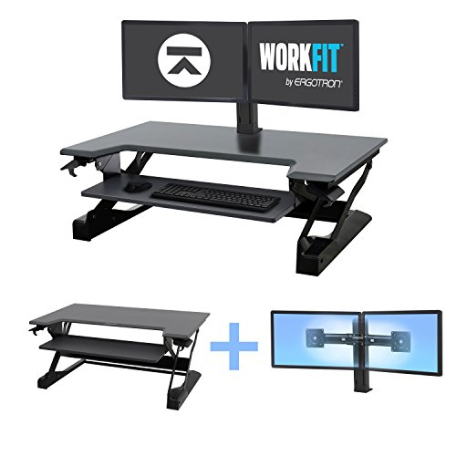 Ergotron WorkFit Bundle WorkFit-T with Dual Monitor Mount Standing Desk Black