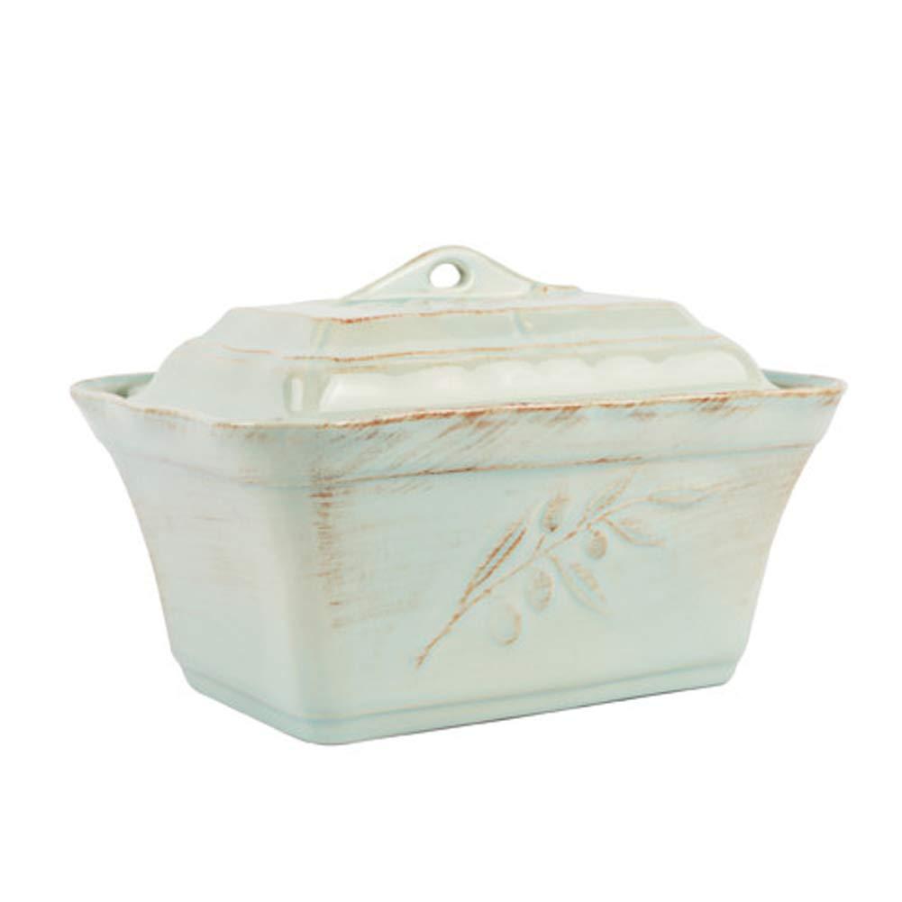 Costa Nova Alentejo Rectangular Casserole Dish with Lid, Fine Stoneware Porcelain Cookware Baker, Oven Safe, 9.8 x 7.0 x 6.9 inch, 1.5 Quart, Turquoise