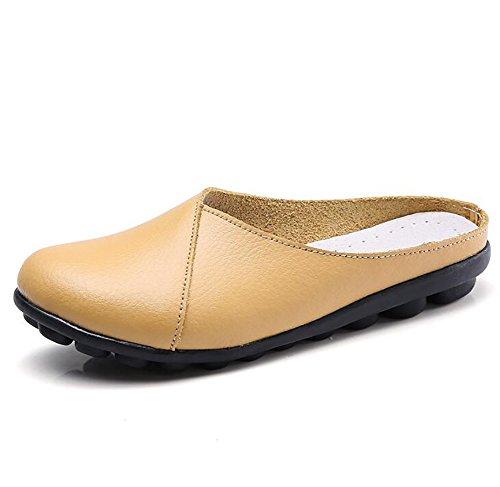 SHANGXIAN Tacón Bajo Zapatos Mujeres Piel Genuina Zapatilla Color Puro Lenguado Antideslizante Fondo Suave Zapatos,E,US9.5(10)/EU41/UK7.5(8)/CN42 H