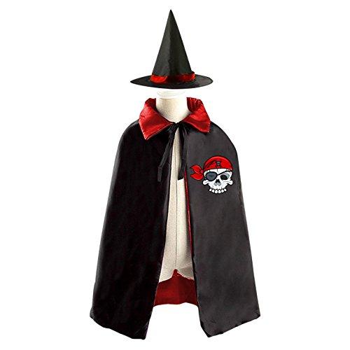 Half Head Skull Children Kid Fancy Durable Costume Cape Cloak with Hat (Halloween Half Skull Makeup)