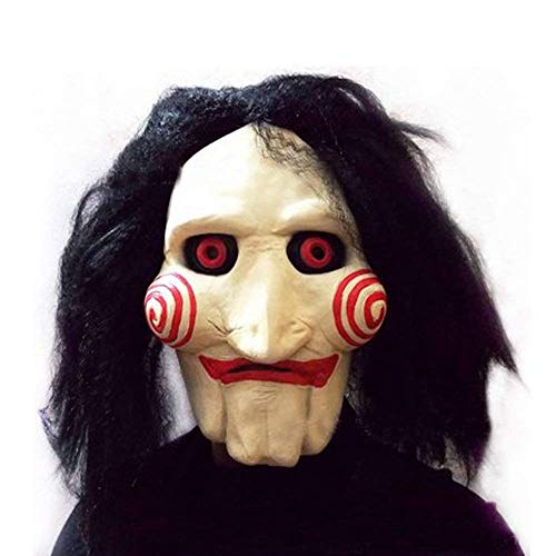 KONKY Party Halloween Costume Latex Horror Clown Saw Mask Super Lifelike Horrifying The Puppet Mask from Movie Jigsaw Full Mask Head Latex Masquerade Prop Christmas, Meets Your Scare Criteria]()