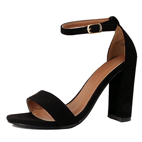 Strap Party Toe Chunky Dress Sandal Open Block Suede Sexy Comfort Heart Black Womens Ankle Guilty Formal High Heel w6gYqHn