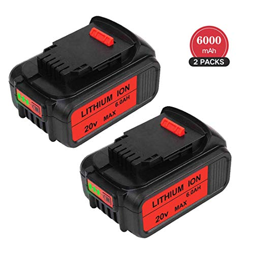 2 Packs 6.0Ah 20 Volt MAX Replacement for Dewalt 20V Battery Lithium-ion DCB205-2 DCB205 DCB203 DCB200 DCB201-2 DCB201 DCB200 Cordless Power Tool