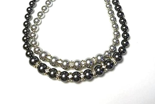 Multi Strand Light and Dark Grey Swarovski Crystal Pearls Beaded Necklace with Clear Rhinestone Rondelles (Dark Multi Crystal)