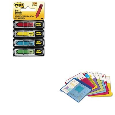 KITCRD84004MMM684SH - Value Kit - Cardinal Poly 2-Pocket Index Dividers (CRD84004) and Post-it Arrow Message 1/2amp;quot; Flags (2 Poly Value Kit)