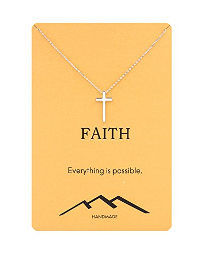 Zealmer Silver Cross Necklace Gift Religious Crucifix Pendant Necklace Faith Reminder Card for Girls