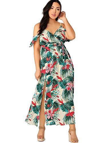 Milumia Women Plus Size Cold Shoulder Wrap Belted Split Maxi Dress Party Aqua 1X