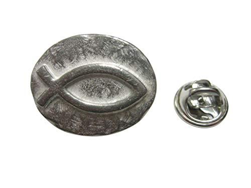 Kiola Designs Silver Toned Oval Religious Ichthys Fish Lapel Pin (Lapel Fish Pin Ichthus)
