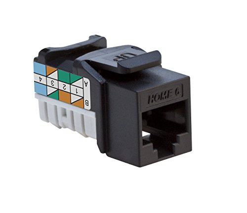 Leviton 61HOM-RE6 Home 6 Snap-In Connector, T568A/B Wiring, Black ()