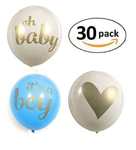 The Funny Flamingo 12'' Latex Balloon (pack of 30) Gold Print It's A Boy for Baby Shower Party 12' Metallic Latex Balloons