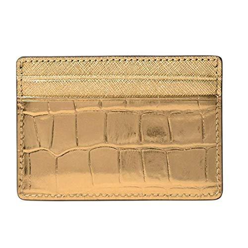 Leather Metallic Embossed (Michael Kors Jet Set Travel Metallic Embossed Leather Card Holder 32F7MF6D0E710)