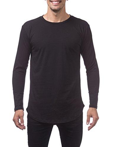 Pro Club Curved Hem Longline Tall Long Sleeve Tee, Large, Black (Pro Club T Shirts Xxl)
