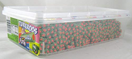- Tuberoos Green Color Red Fondant Filled Sour Licorice Sticks, Watermelon Artificially Flavor. - 200 Pieces Tub