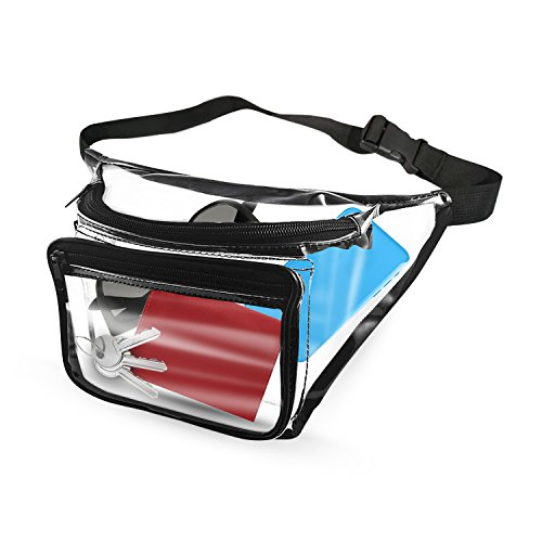 EliteBags Clear Fanny Pack With Zipper Pockets and Waist Strap, Transparent Vinyl Pouch, Great as Stadium Security Bag, Perfect for Men or Women (Nascar Pocket)