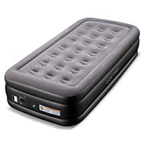 Zoetime Twin Size Air Mattress Upgraded Blow Up Elevated Raised Bed Inflatable Airbed with Built-in Electric Pump, 77 x 38 x 18.5 inches, Gray