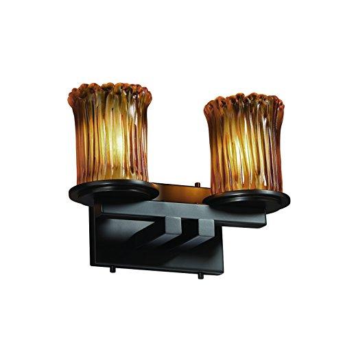 Justice Design Group Veneto Luce 2-Light Bath Bar - Matte Black Finish with Amber Venetian Glass Shade ()