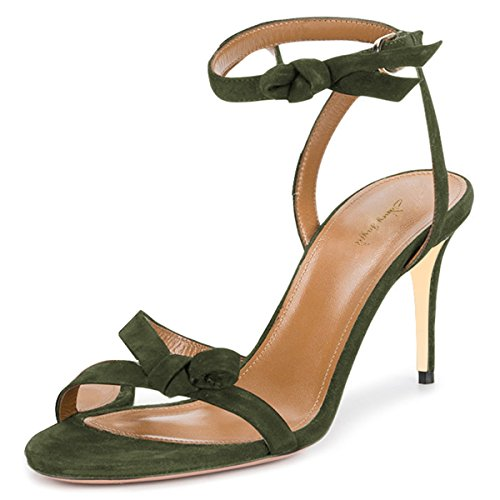 NJ Women Open Toe Strappy Sandals Stilettos High Heel Ankle Strap Slingback Suede Dress Shoes Dark Green 7 (Lady Sandal Strappy Toe Open)