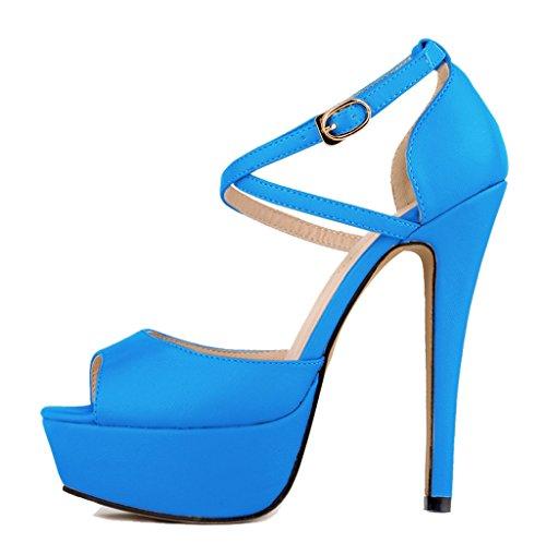 Women's Fashion Peep Toe Stiletto Slip On Platform Sandal Pumps High Heels Shoes blue soft pu