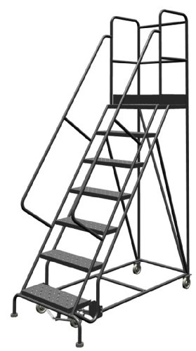 "Tri-Arc KDSR107246-D2 7-Step 20"" Deep Top Steel Rolling Industrial & Warehouse Ladder with Handrails, 24"" Wide Perforated Tread"